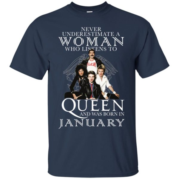 Never Underestimate A Woman Who Listens To Queen And Was Born In January Shirt