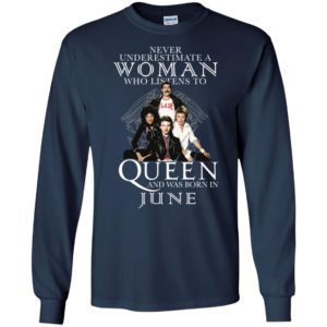 Never Underestimate A Woman Who Listens To Queen And Was Born In June Shirt