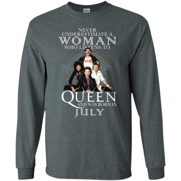 Never Underestimate A Woman Who Listens To Queen And Was Born In July Shirt