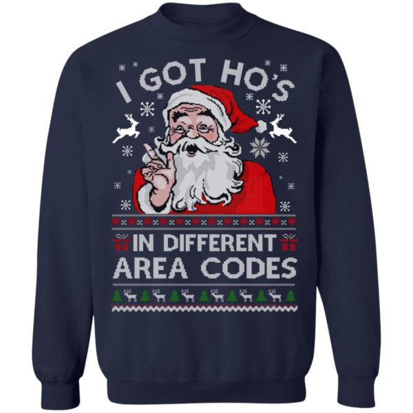 Santa I Got Ho's In Different Area Codes Christmas Shirt