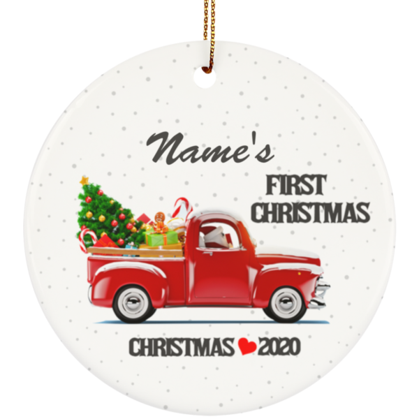 First Christmas 2020 Personalized Baby's Name Ceramic Circle Ornament