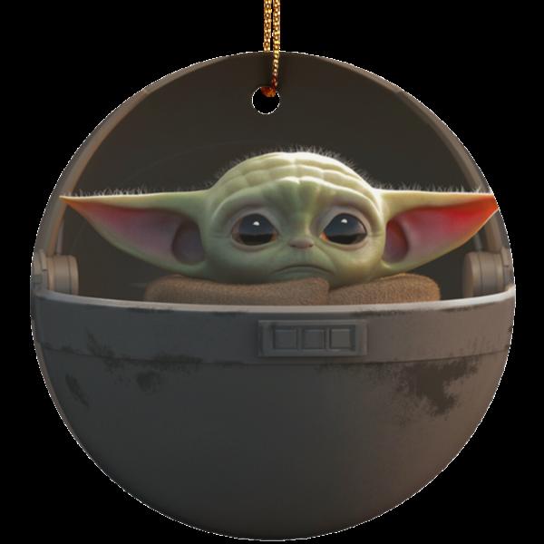 Baby Yoda Ceramic Circle Ornament for Christmas