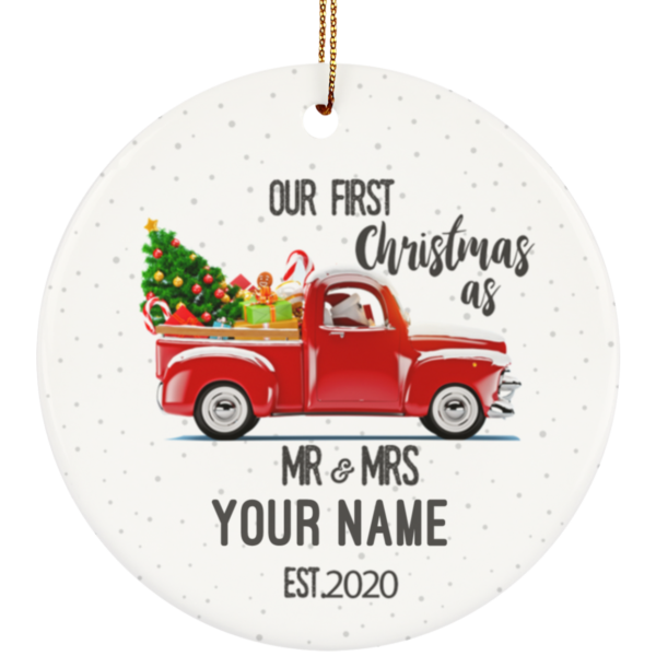 Our First Christmas As Mr & Mrs Personalized Ceramic Circle Ornament