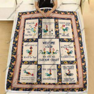 Chicken Hei Hei Welcome To The Coop Quilt Blanket